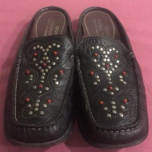Donald J Spliner mules jeweled leather vtg.